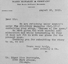 One of many rejection letters received by ERB for Tarzan of the Apes hardcover release
