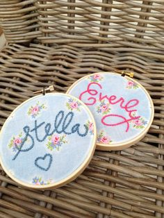 """Made To Order, Nursery Decor, Baby Girl Embroidery Hoop Art, 6"""" Hoop, Vintage Inspired Cabbage Rose Fabric on Etsy, $25.00"""