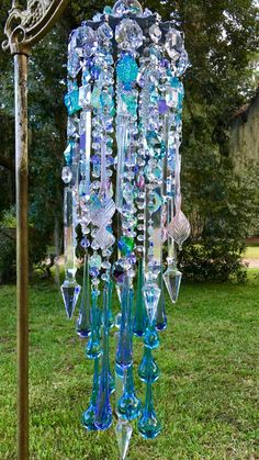 Sea Mist Crystal by MsJoJangle Crystal Wind Chimes, Glass Wind Chimes, Diy Wind Chimes, Old Jewelry Crafts, Bead Chandelier, Hanging Crystals, Summer Breeze, Spirals, Dreamcatchers