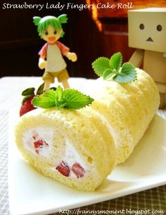 "Thank you for follow♪ The very happy(*'v'*) Is that cute cake is! ! ""YOTSUBA&!""LOVE×100 - 55件のもぐもぐ - Strawberry lady fingers cake roll by Franny"
