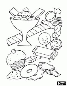 BlueBonkers - Birthday Sweets and Treats Coloring Page Sheets - ice cream, candy, gum - Free Printable birthday party goodies, coloring pages Candy Coloring Pages, Candy Cane Coloring Page, Truck Coloring Pages, Online Coloring Pages, Cute Coloring Pages, Coloring Pages For Girls, Mandala Coloring Pages, Christmas Coloring Pages, Coloring Pages To Print