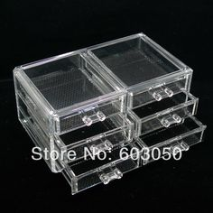 free shipping Luxury Acrylic Cosmetic Organizer Makeup Box 4 Drawers SF 1005 5-in Cases & Displays from Jewelry on Aliexpress.com