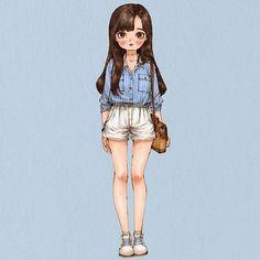 #dailylook #summerfashion #girl #longhair #style #stripedshirt #illust #illustration #drawing #sketch #aeppol #데일리룩 #옷 #패션 #일러스트 #일러스트레이션 #애뽈