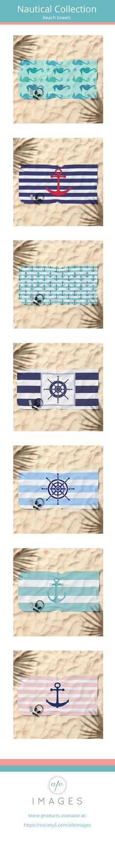 "Hey beach lover! This is a beautiful collection featuring nautical, coastal and beach inspired designs such as anchors, seahorses, helm wheel and others. Beach towel dimensions are 74""x37"" These designs is also available as a bath and hand towel. For custom orders or design please email amalia@afeimages.ca"
