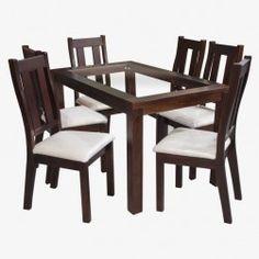 JUEGO COMEDOR TRENTO (CHOCOLATE) Glass Dining Room Table, Dining Room Design, Dining Chairs, Chocolate, Furniture, Home Decor, Glass, Mesas, Home