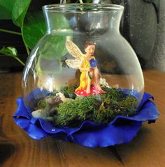 Magical hand painted magical fairy, light up a glass glob, solar powered light, fairy light in the cork, fairy garden by Merriebethplace on Etsy