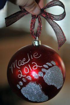 DIY Holiday Footprint Ornaments: A Perfect Holiday Gift! - DIY Holiday Footprint Ornaments: A Perfect Holiday Gift! 1st Christmas, Diy Christmas Ornaments, How To Make Ornaments, Christmas Holidays, Xmas, Glitter Ornaments, Diy Holiday Gifts, Holiday Crafts, Holiday Fun