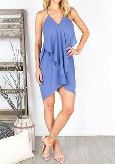 Blue Plain Irregular V-neck Fashion Chiffon Mini Dress