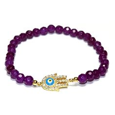 Gold Plated Sterling Silver Amethyst Light Blue Guardian Eye/Evil Eye... (53 AUD) ❤ liked on Polyvore featuring jewelry, bracelets, sterling silver jewellery, light blue jewelry, hamsa evil eye jewelry, sterling silver jewelry and gold plated jewellery
