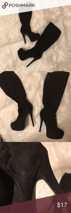 Black faux suede platform boots Black faux suede platform boots.    They are in excellent condition, but for a couple of scuffs as shown in one of the photos. They Black faux suede platform bootsheal measurement is also depicted in one of the photos.,suz03 Shoes Heeled Boots