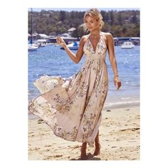 Bohemian V Neck Sleeveless Backless Floral Printed Maxi Dress ($37) ❤ liked on Polyvore featuring dresses, khaki, backless dresses, floral halter dress, high slit maxi dress, backless halter top and bohemian maxi dresses