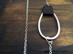 Minimalist Geometric Necklace Sterling Silver Brown by SteamyLab, $52.00