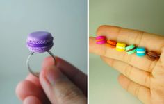 I'm too old to wear one of these, but how adorable. Macaron rings. From Divine Sweetness, on Etsy.