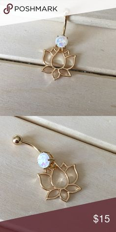 Gold Opalite Lotus Belly Button Ring Condition: Brand New Metal : Gold Plated Surgical Steel Size: 14 Gauge If you have any questions please leave a comment down below. Reasonable offers accepted I do not trade . -Belly Button Ring Navel Piercing 14G Surgical Steel Body Jewelry New- Jewelry Rings