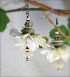 BAMBI--Floral earrings, in crushed cream and pasel Spring green, with natural bone accents..
