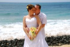 The blue of the Kauai Pacific Ocean makes a gorgeous backdrop, no doubt about it. To help us help you create the wedding of your dreams, give us a call at 877-711-3003 or visit www.AlohaEverAfter.com. #kauaidestinationweddings