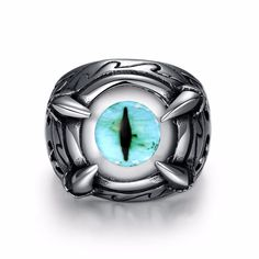 2017 hot sale Gothic EU Punk Style Blue Eyes Ring Popular Special Opal Ring Hot Trendy Men Accessory #Affiliate
