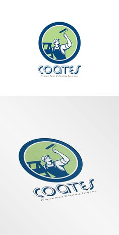 Coates Premium Painters Logo. Logo showing illustration of a house painter decorator with paint roller standing on ladder on isolated background set inside shield crest done in retro style.