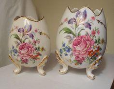 Limoges Floral Footed Egg Vases Made in France (set of 2) in Other Limoges Collectibles | eBay