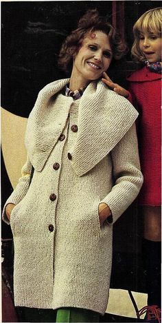 Instant Download PDF Vintage Easy Bebinner's Knitting Pattern to make a Ladies Cape Collar Garter Stitch Cardigan Coat Worked Sideways