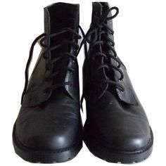 Black Leather Booties / 9 by Foxcultvintage on Etsy (170 RON) ❤ liked on Polyvore featuring shoes, boots, ankle booties, footwear, black, black leather boots, leather ankle booties, leather booties, black booties and real leather boots