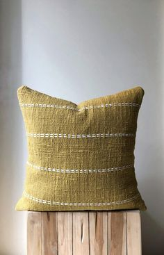 Organic Natural Raw Cotton Hand-dyed mustard colour with stitch finish. Home Decor Mustard Bedding, Linen Bedding, Bed Linen, Ceramic Wool, Boho Pillows, Throw Pillows, Vintage Cushions, Bedding Sets Online, Cotton Pillow