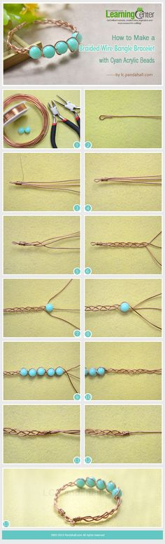 How to Make a Braided Wire Bangle Bracelet with Cyan Acrylic Beads