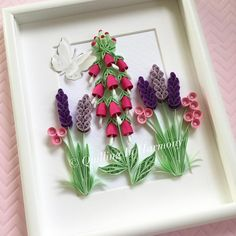 """70 Likes, 1 Comments - QUILLER ARTIST (@quilling_in_harmony) on Instagram: """"Added some lavender to the foxgloves Title: """"FIELD FLOWERS"""" 8x10"""" (20cmx26cm) Quilling, hand…"""""""