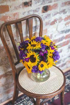 sunflower weddingpurple and yellow