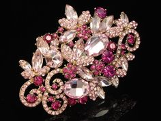 peach rose pink crystal flower vine Rhinestone gold plate Brooch pin pendant F94