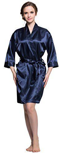 a99568de55 Sunrise Women s Kimono Satin Bridal Robe with Rhinestones (M(Maid of  honor)