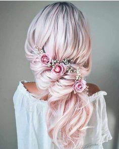 Wedding Hairstyles For Long Hair, Pretty Hairstyles, Braided Hairstyles, Short Hair, Updo Hairstyle, Braided Updo, Celebrity Hairstyles, Hairstyle Ideas, Hair Dye Colors