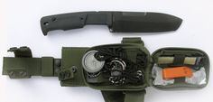 Extrema Ratio knives, Survival knife, Green cover 129SEL, Desert cover 129D. With survival kit.