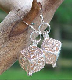 Reclaimed Glass Pink Silver Filigree Earrings