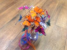 Butterfly Bouquet with crystal accents. Very colorful, for that unique bride! Etsy: Occasionsbykim