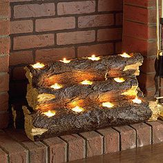 Tealight Fireplace Log | Decorative Accessories| Home Decor | World Market