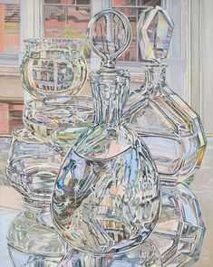 Janet Fish Afternoon Reflections, June and September, 1978 oil on canvas 60 x 48 in. Advanced Higher Art, Frog Illustration, Reflection Art, Ap Studio Art, Painting Still Life, Ap Art, High Art, Photorealism, Art Studios