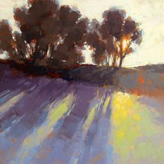 "David Mensing Fine Art- ""Discreet"" (24x24) Setting sun on the hills behind my sisters house."