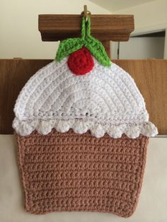 FREE SHIPPING Cup Cake hand crocheted and embroidered pot holder decorative item kids bedroom holiday birthday gift wool acrylic yarn