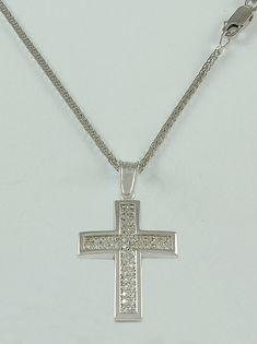 Σταυρός βάπτισης λευκόχρυσος με λευκά ζιργκόν σε αλυσίδα, 14 καράτια, κορίτσι, Κωδικός WS073