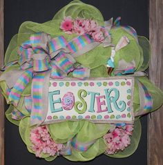 Easter Burlap Mesh Wreath by southernchicbyle on Etsy, $54.00