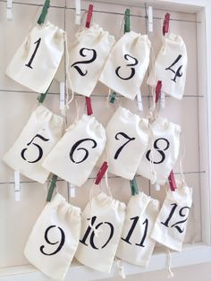 Advent Calendar - 12 days of Christmas Advent Calendar - Muslin bags twine and dyed pegs - Chrismas holiday Advent Calendar