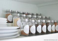 spice cupboard organization using jars from World Market | creature comforts blog
