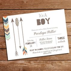 It's A Boy Tribal Baby Shower Invitation