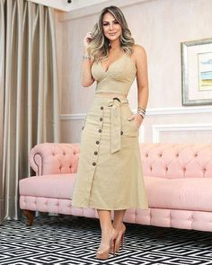 Feels stunning and comfortable in this attire Cute Dresses, Beautiful Dresses, Casual Dresses, Casual Outfits, Fashion Dresses, Summer Dresses, Skirt Outfits, Dress Skirt, Mode Style
