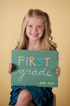First day of school pictures with grade level on chalkboard - perhaps at the beginning and the end of the year