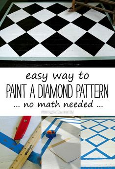 How To Paint Diamond Pattern on Porch - Easy DIY Painted Porch Rug