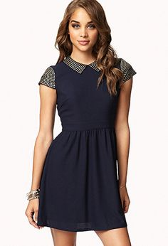 Studded Fit & Flare Dress | FOREVER21 - $29.80