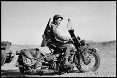U.S. Army Ranger on motorcycle, Sicily, 1943. Phil Stern: Classic WWII Photos