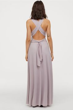 Full-length, V-neck dress in heavily draped jersey with a slight sheen. Long shoulder straps with multiple fastening options, elastication at back of waist, Mauve, Multi Way Dress, Bastilla, Maxi Styles, V Neck Dress, Light Purple, Bridesmaid Dresses, Bridesmaids, Dress Outfits